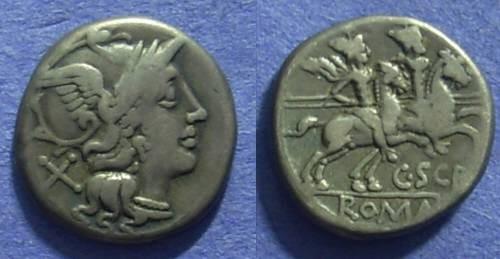Ancient Coins - Roman Republic - C Scribonius Denarius 154 BC