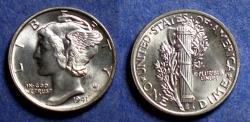 Us Coins - United States,  1941, Silver Mercury Dime, MS65, FSB