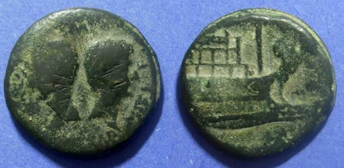 Ancient Coins - Vienna Gaul, Octavian & Julius Caesar Circa 36 BC, AE30