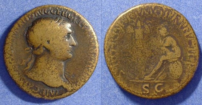 Ancient Coins - Trajan 98 -117AD Sestertius