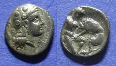 Ancient Coins - Taras, Calabria 325-280 BC, Diobol