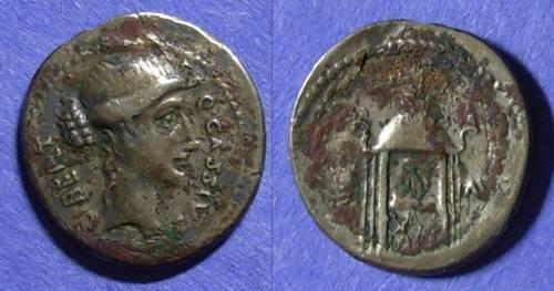 Ancient Coins - Roman Republic, Q Cassius Longinus 55 BC, Fourree Denarius