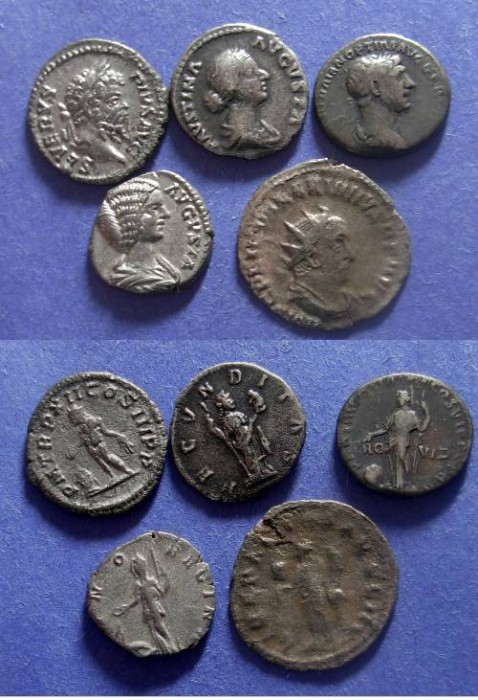 Ancient Coins - Roman Empire, Group of 5 Roman silver coins 98-260 AD,