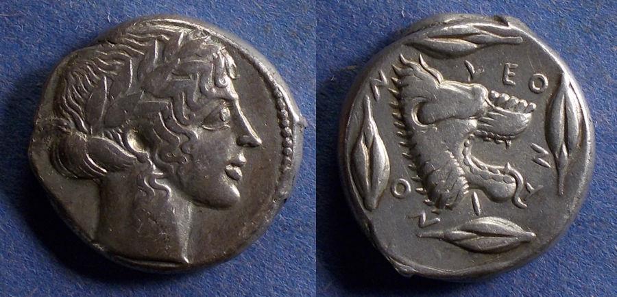 Ancient Coins - Sicily, Leontini 450-430 BC, Tetradrachm