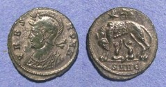 Ancient Coins - Roman Empire, Constantine, Urbs Roma - Silvered  AE3/4