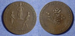 World Coins - halfpenny token - coronation of George VI 1821