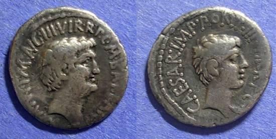 Ancient Coins - Roman Imperatorial, Marc Antony & Octavian Struck 41 BC, Denarius