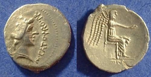 Ancient Coins - Roman Republic Denarius - Porcia 9 - 47/46 BC