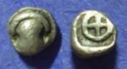 Ancient Coins - Thebes Boeotia 480-460 BC Tetartemorion - Tiny Coin!