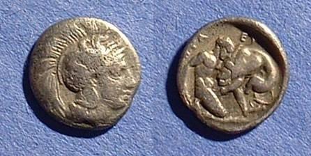 Ancient Coins - Heraclea Lucania Diobol Circa 370 BC