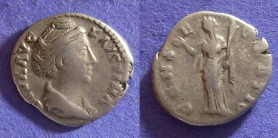 Ancient Coins - Faustina Sr (Wife of A. Pius)- D.141 Denarius