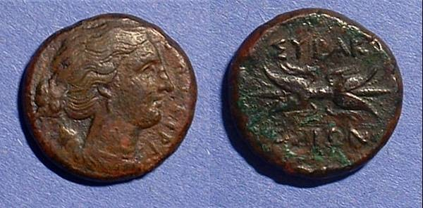 Ancient Coins - Syracuse Sicily AE-22 289-288 BC or 278 BC