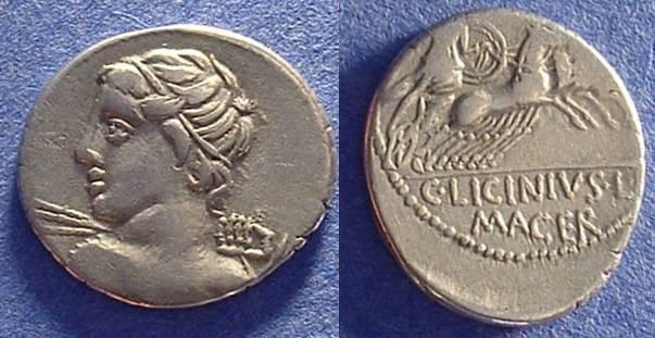 Ancient Coins - Roman Republlic Licinia 16 Denarius Circa 84 BC