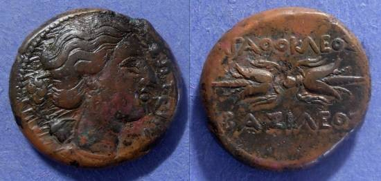 Ancient Coins - Syracuse Sicily, Agathocles 317-289  BC, AE22