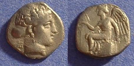 Ancient Coins - Terina Bruttium - 1/3 stater 400-350 BC