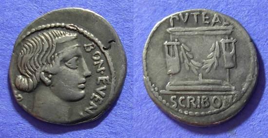 Ancient Coins - Roman Republic - Scribonia 8a Denarius 62 BC