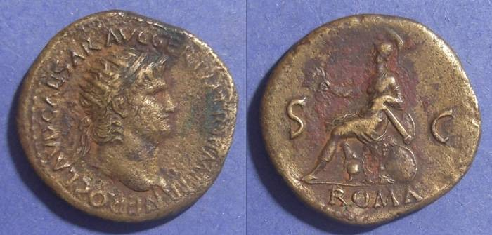 Ancient Coins - Roman Empire, Nero 54-68, Dupondius