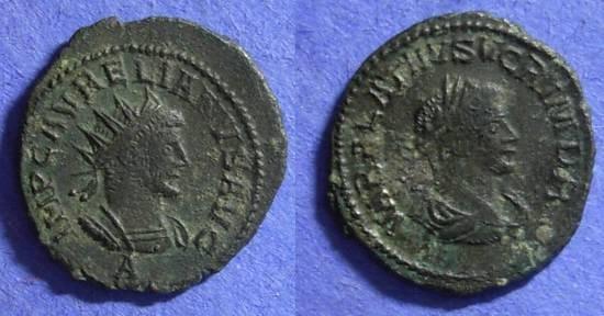 Ancient Coins - Aurelian and Vabalathus 270-272AD Antoninianus