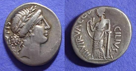 Ancient Coins - Roman Republic – Acilia 8 Denarius 49 BC