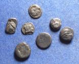 Ancient Coins - Greek AR fractions,  Circa 400 to 250 BC, Silver 6 to 9mm Diam