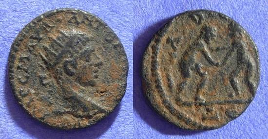 Ancient Coins - Elagabalus - Laodikeia Syria - AE19 Herakles and Dionysos wrestling