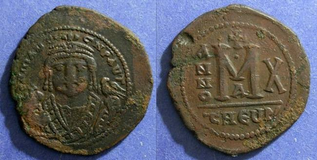 Ancient Coins - Byzantine Empire, Maruice Tiberius 582-602 AD, Follis