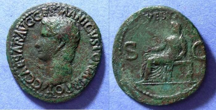 Ancient Coins - Caligula 37-41 AD Aes - Vesta reverse