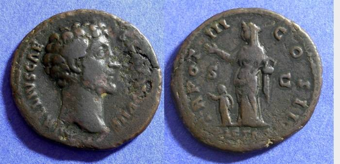 Ancient Coins - Marcus Aurelius as Caesar 138-161AD - Aes