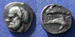 Ancient Coins - Thasos, Island off Thrace 411-350 BC, Hemiobol