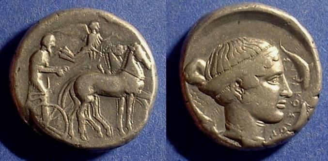 Ancient Coins - Syracuse Sicily Tetradrachm 430-420 BC