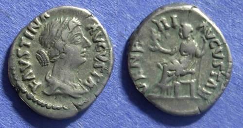 Ancient Coins - Roman Empire Faustina Jr (wife of M. Aurelius) d. 175 Denarius