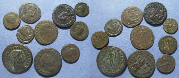 Ancient Coins - Roman Empire, Group of ten bronze coins 3rd & 4th Century,
