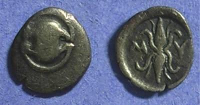 Ancient Coins - Mykalessos Boeotia Obol Circa 400-375BC