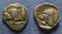 Ancient Coins - Mysia, Kyzicus Circa 450 BC, Hemiobol : Rare type with fish on reverse