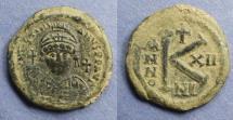 Ancient Coins - Byzantine Empire, Justinian 527-565, Half Follis