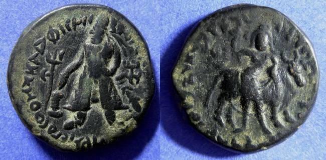 Ancient Coins - Kushans - Vima Kadphises 100-125AD AE25