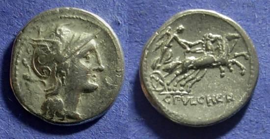 Ancient Coins - Roman Republic - C Claudius Pulcher Denarius - 110/109 BC