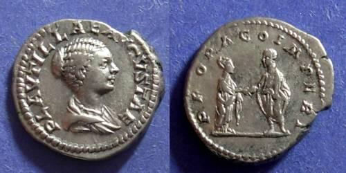 Ancient Coins - Roman Empire, Plautilla exiled 205 AD, Denarius