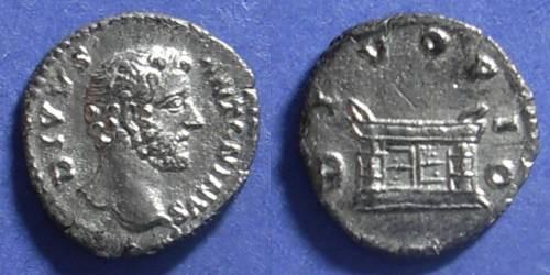 Ancient Coins - Roman Empire, Divus Antoninus Pius d. 161 AD, Denarius