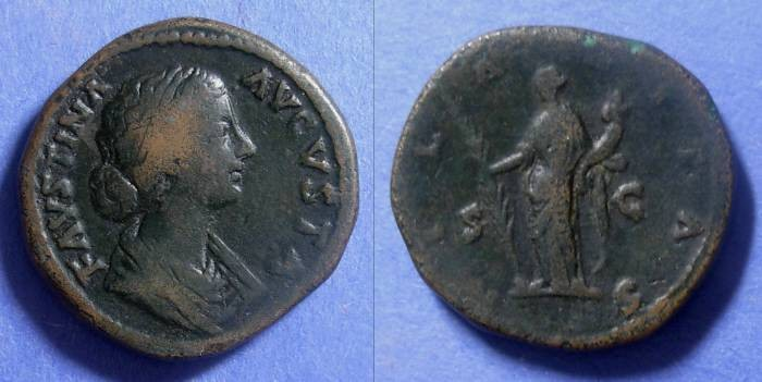 Ancient Coins - Roman Empire, Faustina Jr d. 175, Sestertius