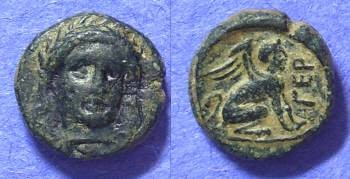 Ancient Coins - Gergis Troas – AE9 with facing head of Sibyl – 400-241 BC