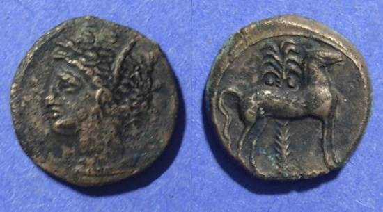 Ancient Coins - Sicilo-Punic, Sicilian mint 300-250, AE16
