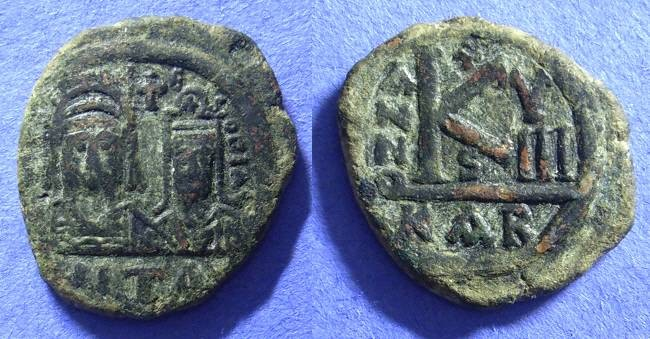 Ancient Coins - Justin II & Sophia 565-578 - Rare Half Follis of Carthage