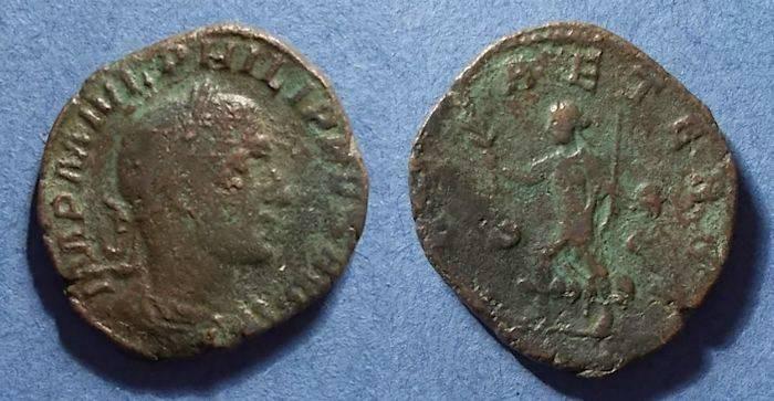 Ancient Coins - Roman Emprie, Philip II (as Augustus) 247-9, Sestertius