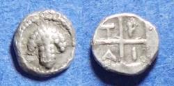 Ancient Coins - Macedonia, Tragilos 450-400 BC, Silver Tetartemorion