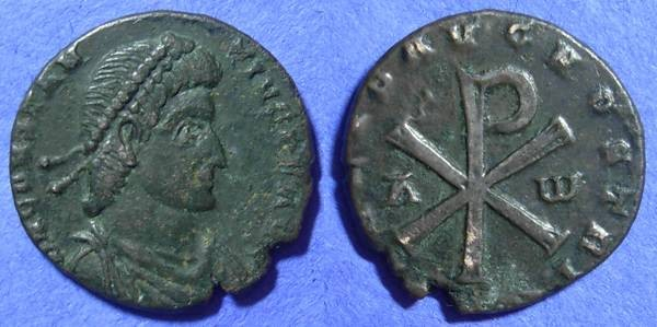 Ancient Coins - Constantius II 337-361 - Centenionalis of Trier with Chi Rho symbol