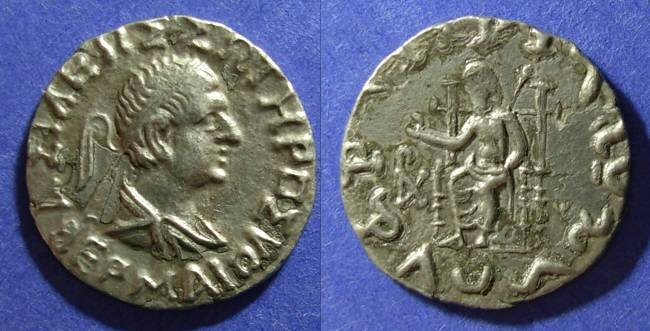 Ancient Coins - Bactria, Hermaios 90-70 BC, Tetradrachm