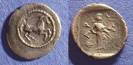 Ancient Coins - Pharkadon Thessaly - AR Obol Circa 480-400 BC
