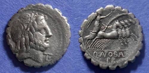 Ancient Coins - Roman Republic, Q Antonius Balbus 83-82  BC, Serrate Denarius