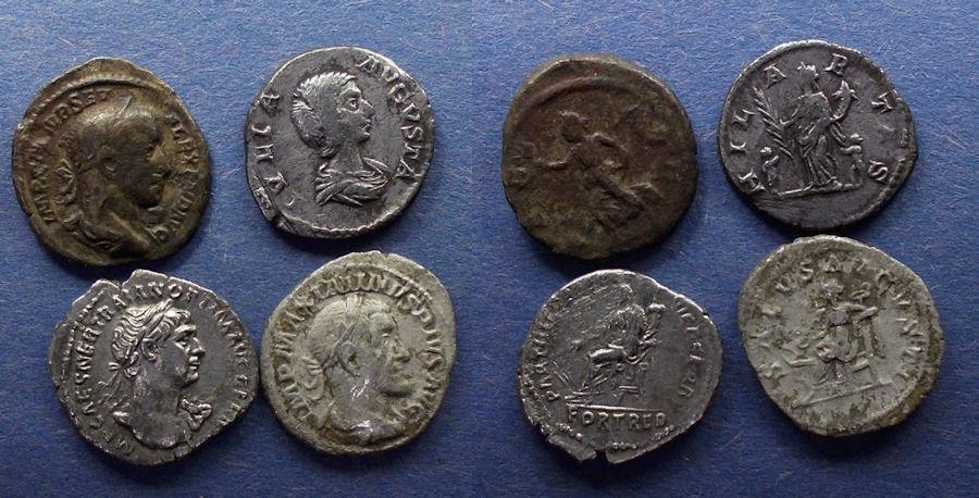 Ancient Coins - Roman Empire, Group of four Denarii 98-238,